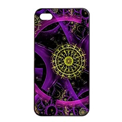 Fractal Neon Rings  Apple Iphone 4/4s Seamless Case (black) by amphoto
