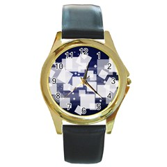 Squares Shapes Many  Round Gold Metal Watch by amphoto