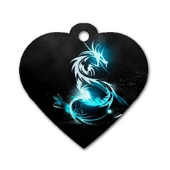 Dragon Classical Light  Dog Tag Heart (two Sides) by amphoto