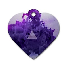 Smoke Triangle Lilac  Dog Tag Heart (one Side) by amphoto