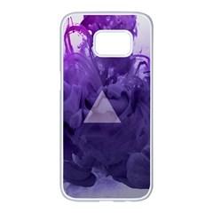 Smoke Triangle Lilac  Samsung Galaxy S7 Edge White Seamless Case by amphoto