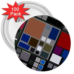 Abstract Composition 3  Buttons (100 Pack)