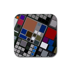 Abstract Composition Rubber Square Coaster (4 Pack)