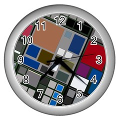 Abstract Composition Wall Clocks (silver)  by Nexatart