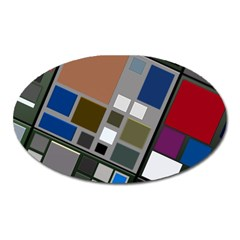 Abstract Composition Oval Magnet