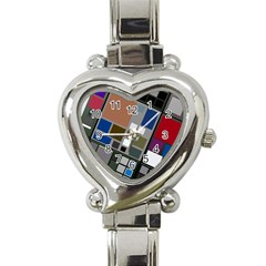 Abstract Composition Heart Italian Charm Watch by Nexatart