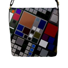 Abstract Composition Flap Messenger Bag (l)