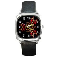 Algorithmic Drawings Square Metal Watch
