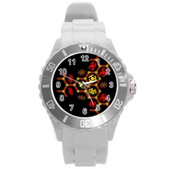Algorithmic Drawings Round Plastic Sport Watch (l) by Nexatart