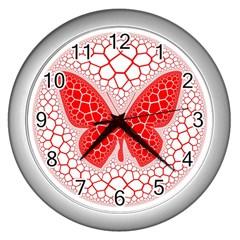 Butterfly Wall Clocks (silver)  by Nexatart