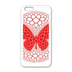 Butterfly Apple Iphone 6/6s White Enamel Case by Nexatart