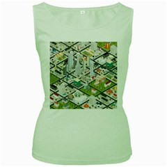 Simple Map Of The City Women s Green Tank Top