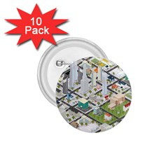 Simple Map Of The City 1 75  Buttons (10 Pack)