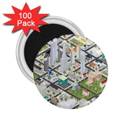 Simple Map Of The City 2 25  Magnets (100 Pack)