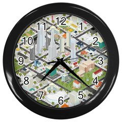 Simple Map Of The City Wall Clocks (black)
