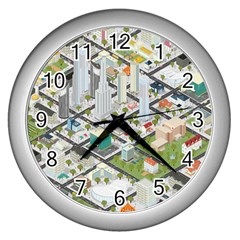 Simple Map Of The City Wall Clocks (silver)  by Nexatart