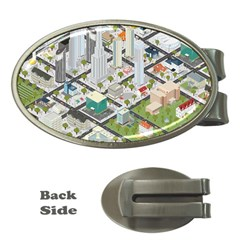 Simple Map Of The City Money Clips (oval)  by Nexatart