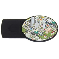Simple Map Of The City Usb Flash Drive Oval (2 Gb) by Nexatart