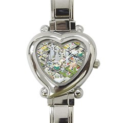 Simple Map Of The City Heart Italian Charm Watch by Nexatart