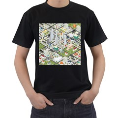 Simple Map Of The City Men s T Shirt (black) (two Sided)