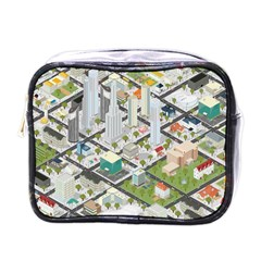 Simple Map Of The City Mini Toiletries Bags by Nexatart