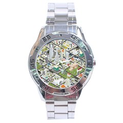 Simple Map Of The City Stainless Steel Analogue Watch