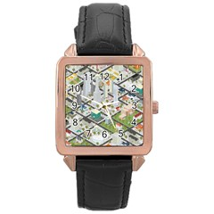 Simple Map Of The City Rose Gold Leather Watch
