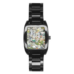 Simple Map Of The City Stainless Steel Barrel Watch
