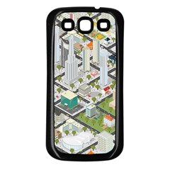 Simple Map Of The City Samsung Galaxy S3 Back Case (black) by Nexatart