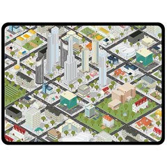 Simple Map Of The City Double Sided Fleece Blanket (large)  by Nexatart