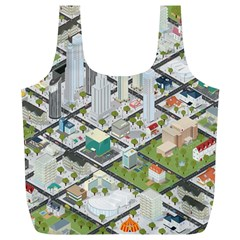 Simple Map Of The City Full Print Recycle Bags (l)