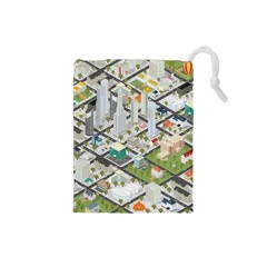 Simple Map Of The City Drawstring Pouches (small)