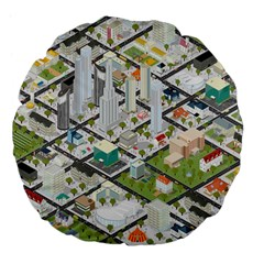 Simple Map Of The City Large 18  Premium Flano Round Cushions