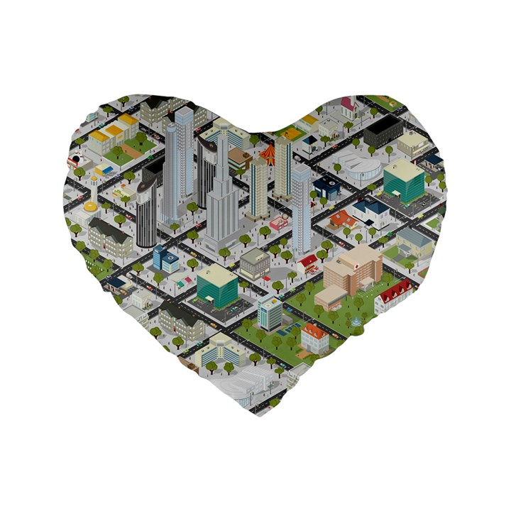 Simple Map Of The City Standard 16  Premium Flano Heart Shape Cushions