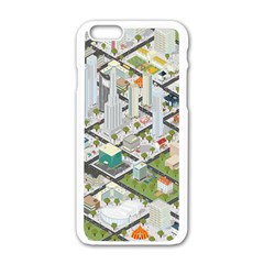Simple Map Of The City Apple Iphone 6/6s White Enamel Case