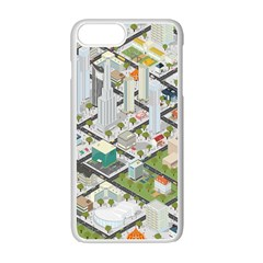 Simple Map Of The City Apple Iphone 7 Plus White Seamless Case