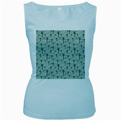 Telephone Lines Repeating Pattern Women s Baby Blue Tank Top