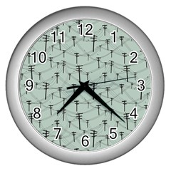 Telephone Lines Repeating Pattern Wall Clocks (silver)  by Nexatart