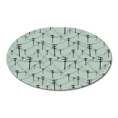 Telephone Lines Repeating Pattern Oval Magnet