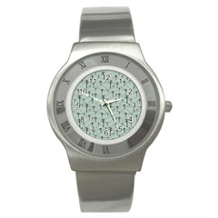 Telephone Lines Repeating Pattern Stainless Steel Watch