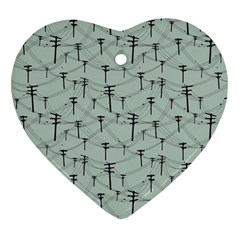 Telephone Lines Repeating Pattern Heart Ornament (two Sides) by Nexatart