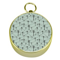 Telephone Lines Repeating Pattern Gold Compasses