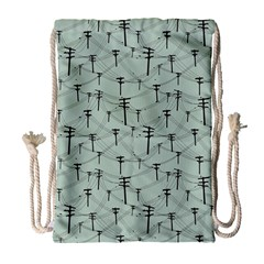 Telephone Lines Repeating Pattern Drawstring Bag (large)