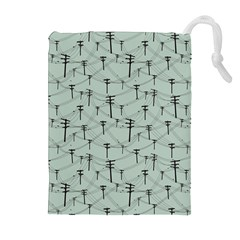 Telephone Lines Repeating Pattern Drawstring Pouches (extra Large) by Nexatart