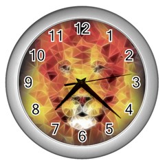 Fractal Lion Wall Clocks (silver)