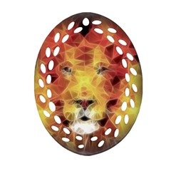 Fractal Lion Ornament (oval Filigree) by Nexatart