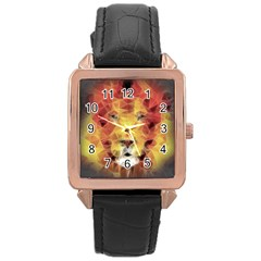 Fractal Lion Rose Gold Leather Watch