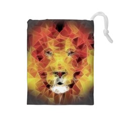 Fractal Lion Drawstring Pouches (large)  by Nexatart