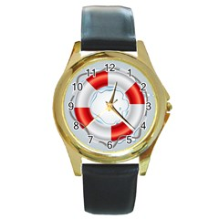 Spare Tire Icon Vector Round Gold Metal Watch