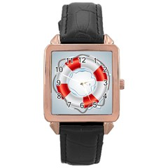 Spare Tire Icon Vector Rose Gold Leather Watch